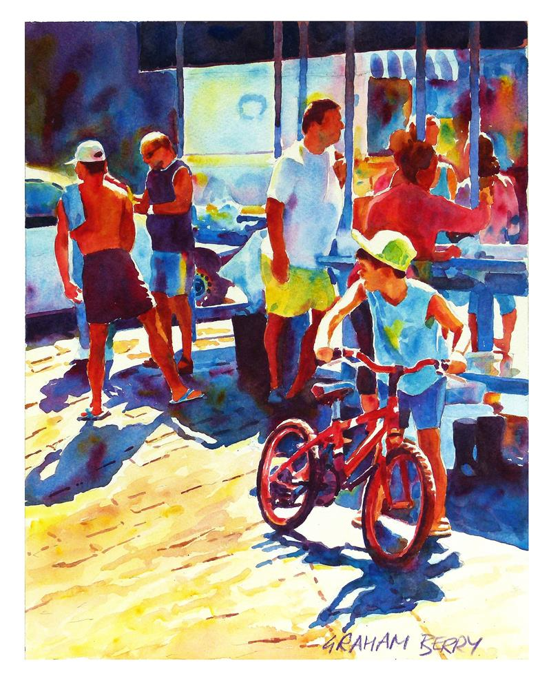 """Red bike."" original fine art by Graham Berry"