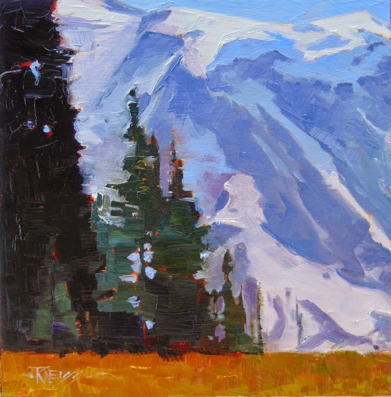 """""""Grand Park Mt Rainier National Park, oil, landscape painting by Robin Weiss in the Randy Higbee 6"""" original fine art by Robin Weiss"""