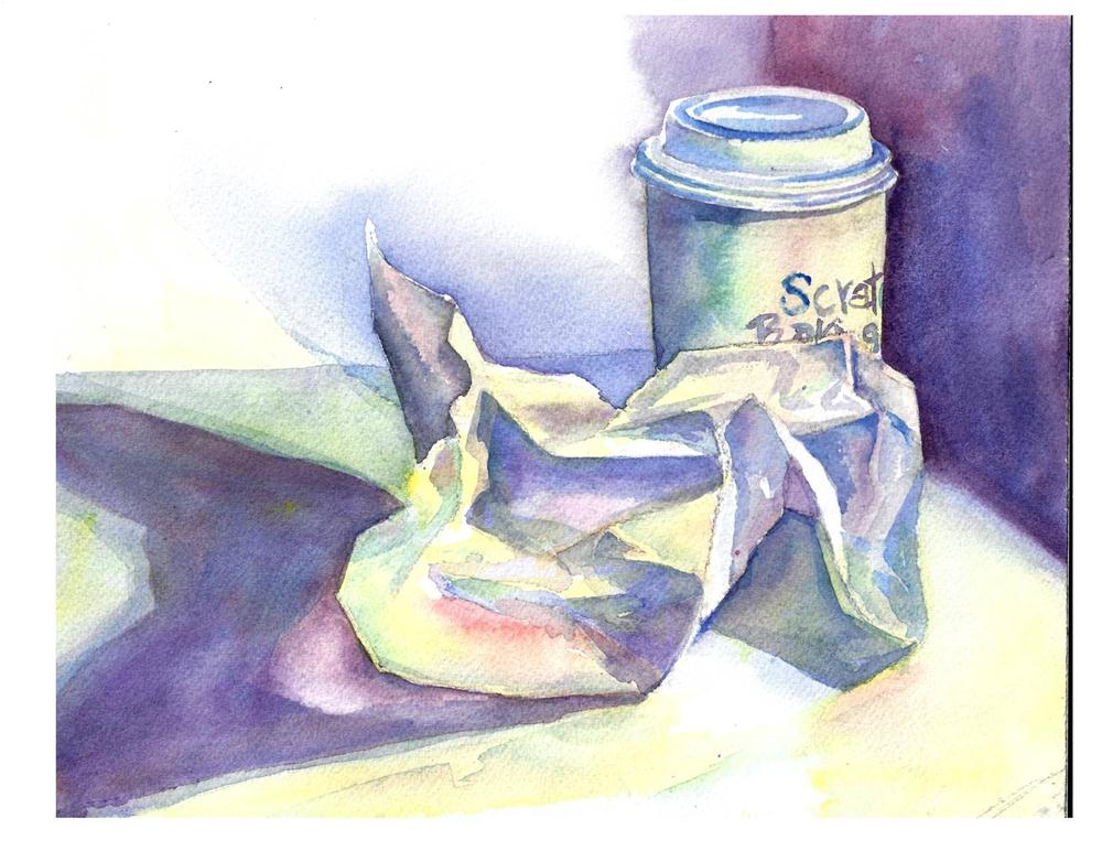 """""""Coffee and Crumpled Paper"""" original fine art by Suzanne Woodward"""