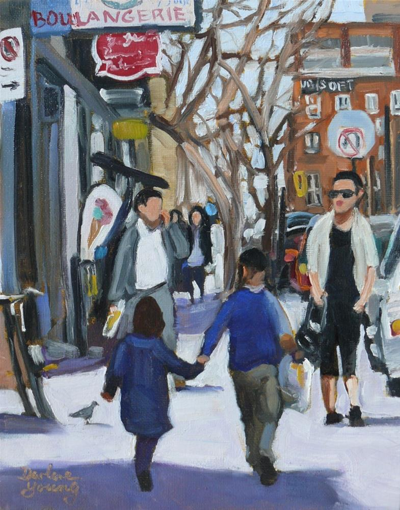 """1048, Montreal Scene, Hand in Hand, 8x10, oil on board"" original fine art by Darlene Young"