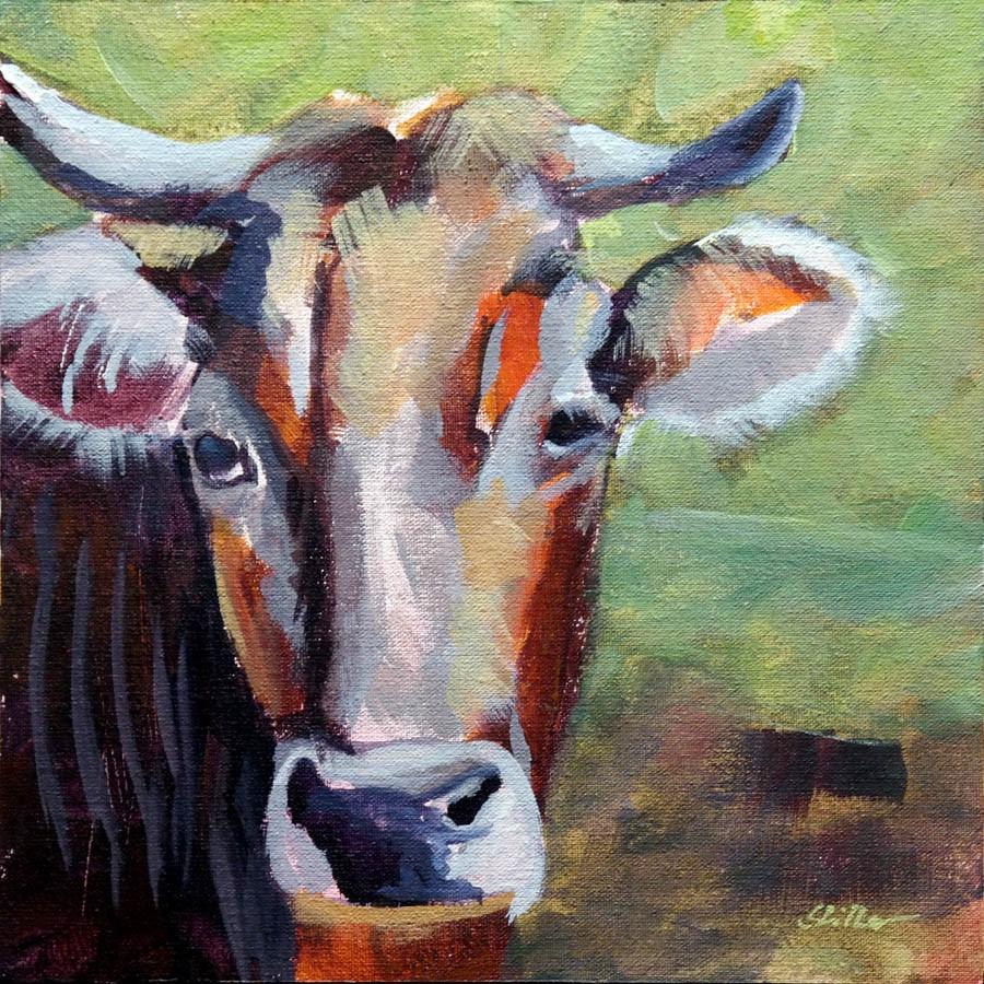 """2658 Short Cow Demo"" original fine art by Dietmar Stiller"