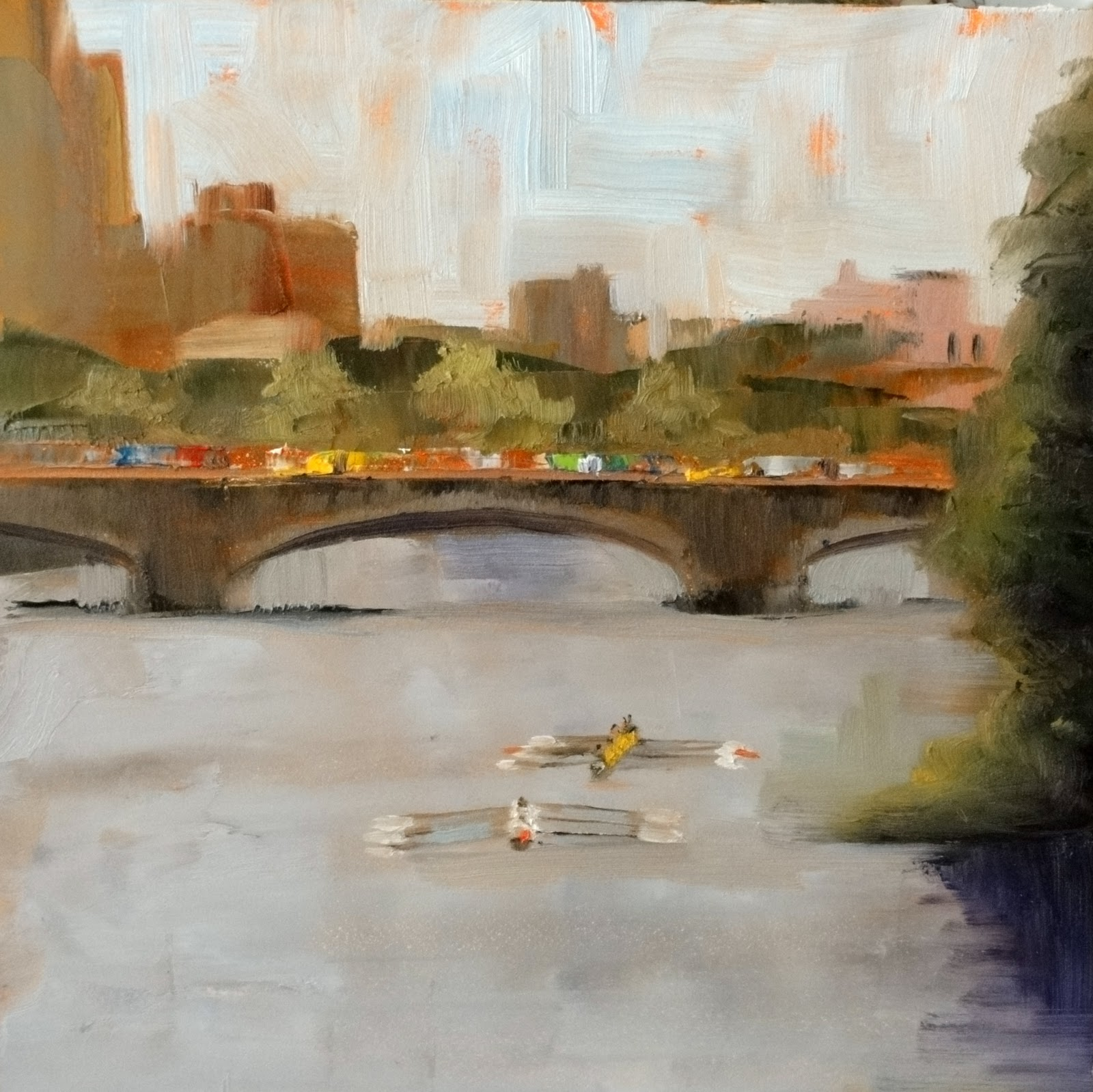 """Head of the Charles Regatta"" original fine art by Ann Feldman"
