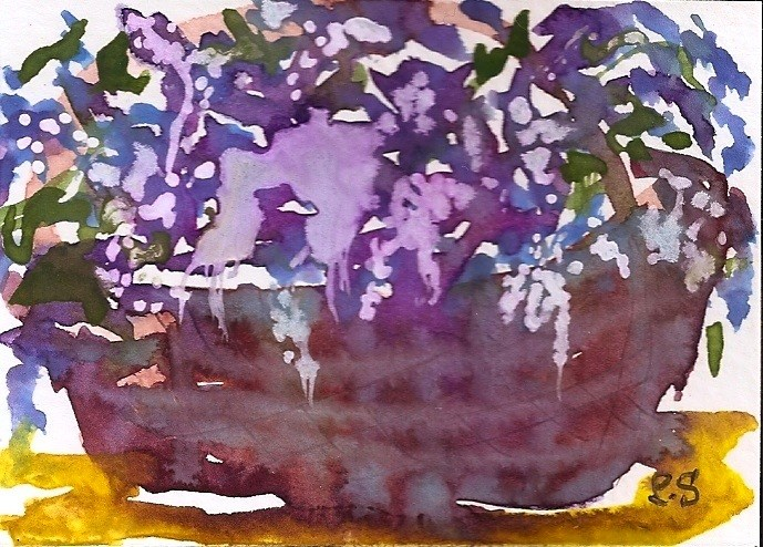 """ACEO Basket of Lavender Flowers Gouache Abstract Painting Penny StewArt"" original fine art by Penny Lee StewArt"