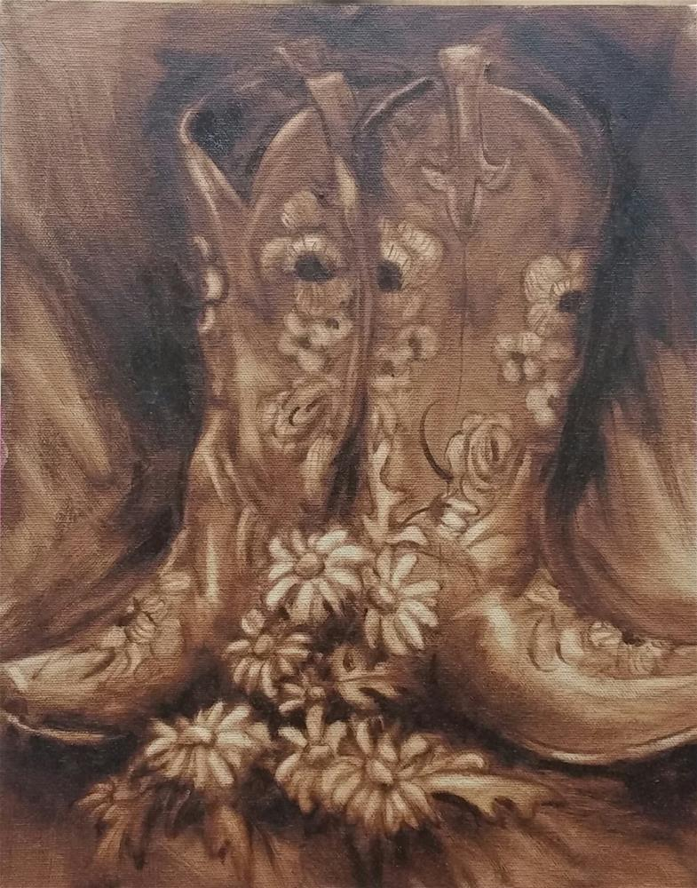 """""""Boots and Daisy-study"""" original fine art by Veronica Brown"""