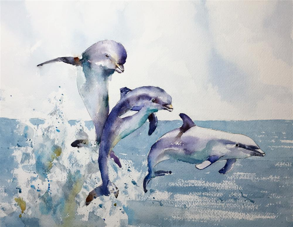 """Dolphins"" original fine art by Michele Clamp"