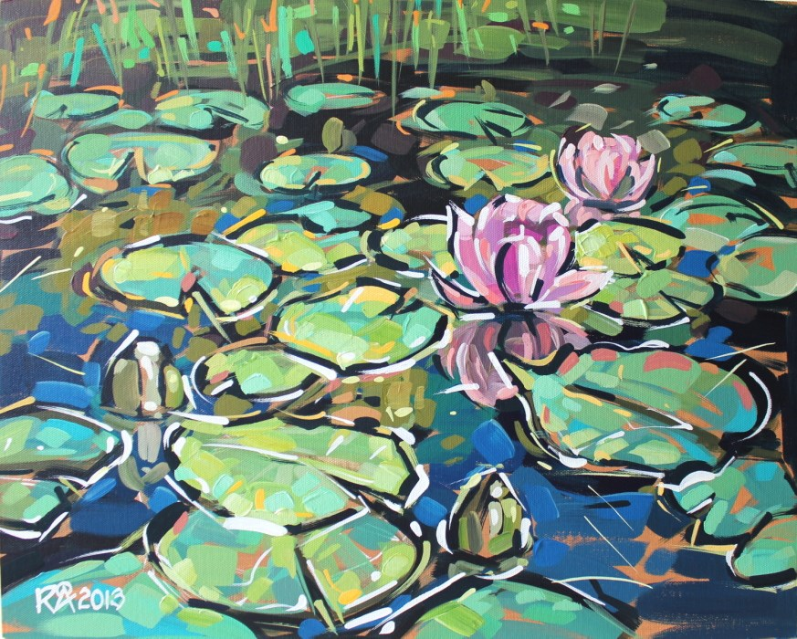 """Waterlily abstraction 7"" original fine art by Roger Akesson"