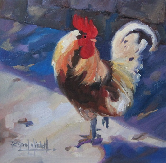 """No 544 Rooster No2"" original fine art by Robin J Mitchell"