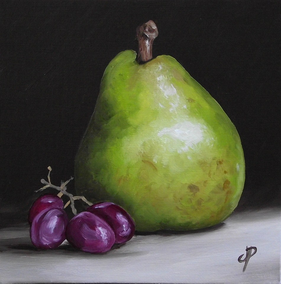 """""""Comice Pear with grapes"""" original fine art by Jane Palmer"""