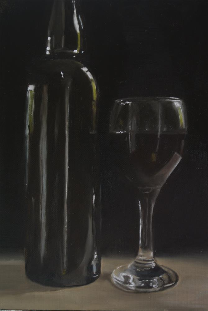 """""""Red Wine Glass and Bottle"""" original fine art by James Coates"""