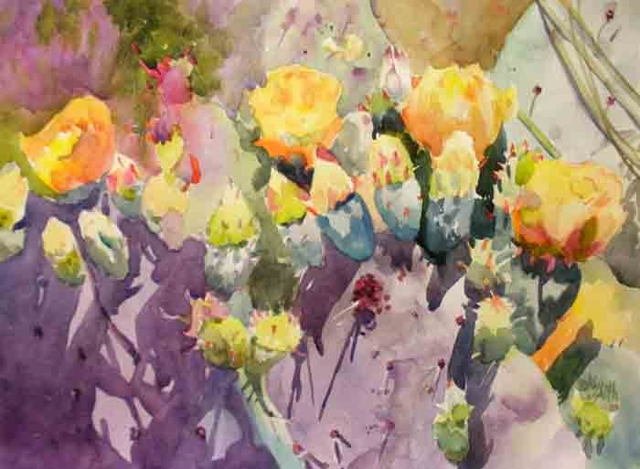 """Purple Prickly Pear Cactus"" original fine art by Kay Smith"