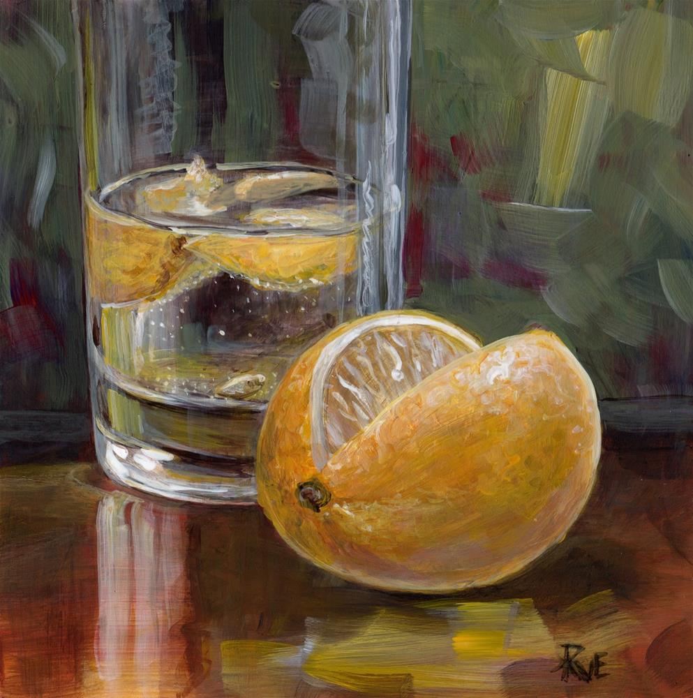 """#87 Water with Lemon"" original fine art by Ruth Van Egmond"