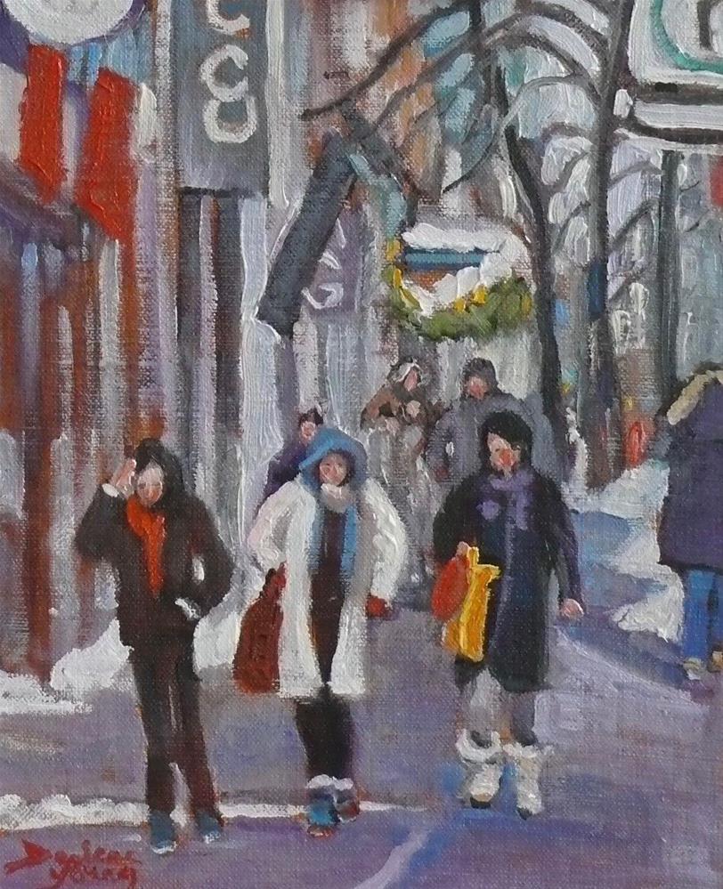"""913 Montreal Winter Scene, Ste-Catherine, oil on board, 8x10"" original fine art by Darlene Young"
