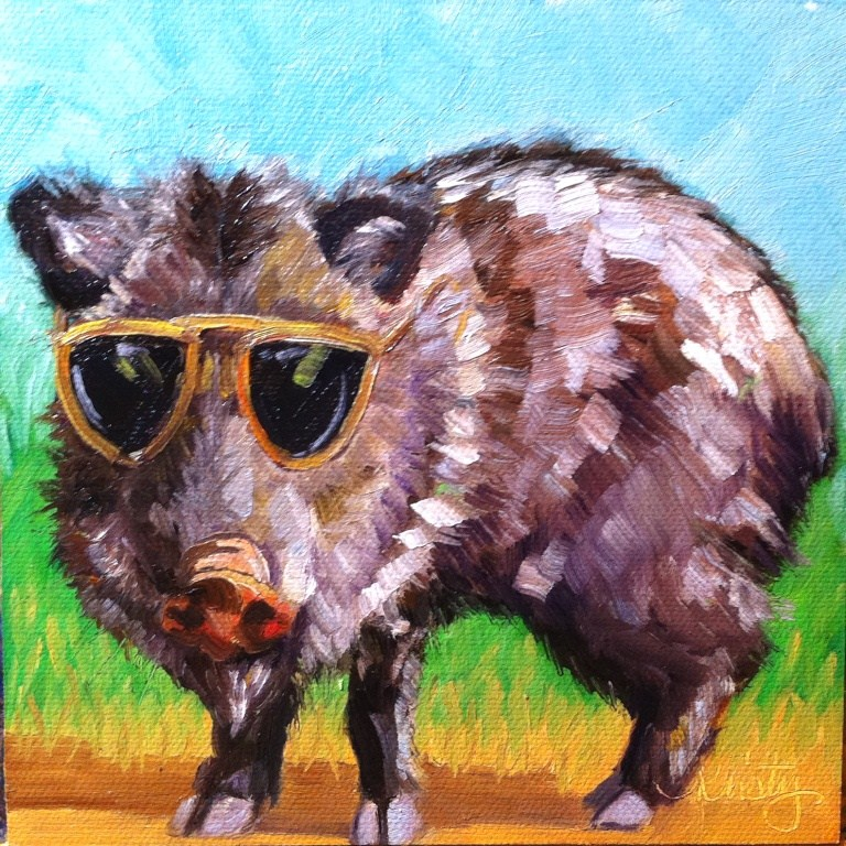 """HIP JAVELINA"" original fine art by Kristy Tracy"