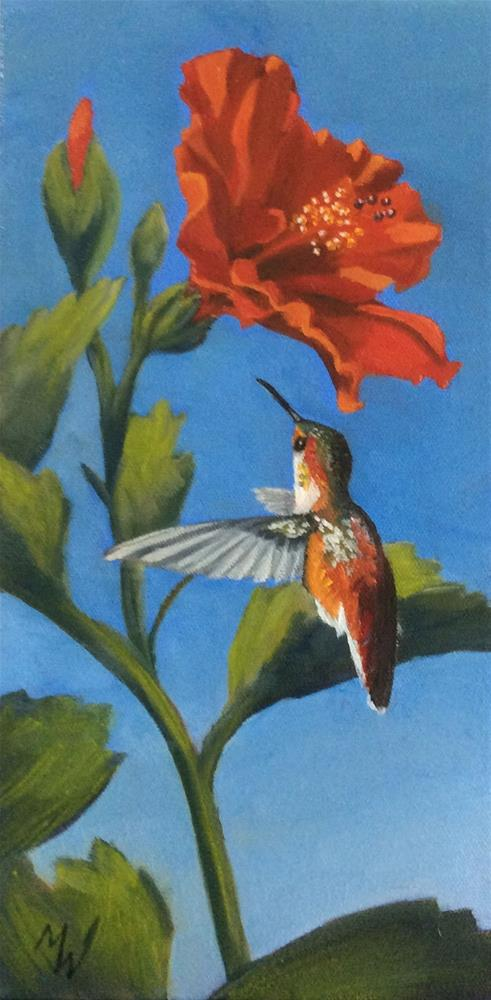 """""""Hummer and Hibiscus"""" original fine art by Michelle Wolfe"""