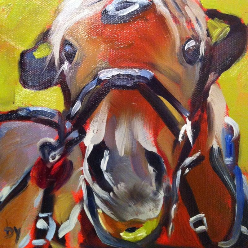 """""""Yum, oil on canvas panel, 6x6"""" original fine art by Darlene Young"""