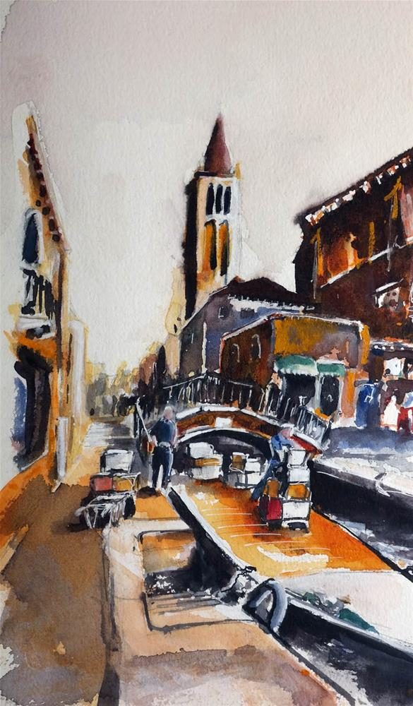 """3170 venetian shipping"" original fine art by Dietmar Stiller"