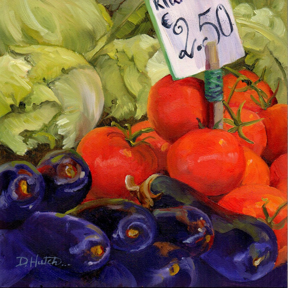 """Market Series #7  Eggplant, Tomatoes and Lettuce"" original fine art by Diane Hutchinson"