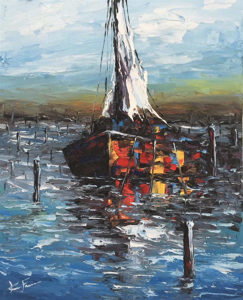 """Mooring Line II"" original fine art by Ken Fraser"