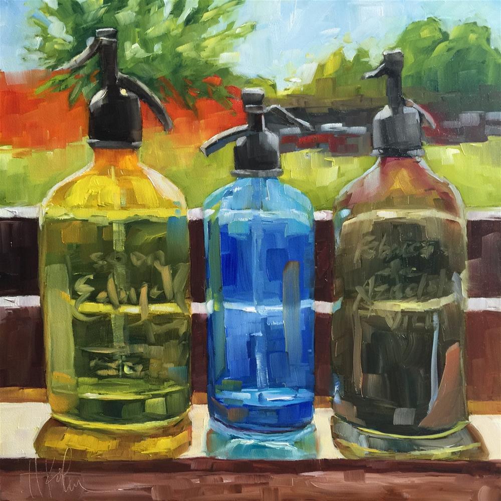 """Vintage Seltzer Bottles"" original fine art by Hallie Kohn"