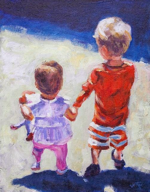 """Holding Hands"" original fine art by J. Farnsworth"