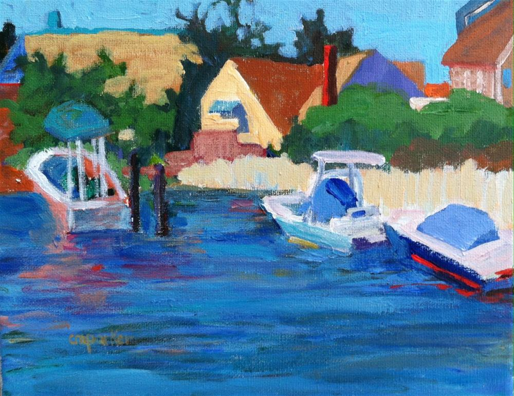 """Boats in Lagoon"" original fine art by Christine Parker"