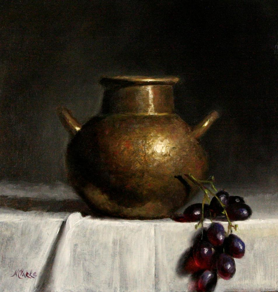 """Still life with Old Hammered Copper Pot and grapes "" original fine art by Natalia Clarke"