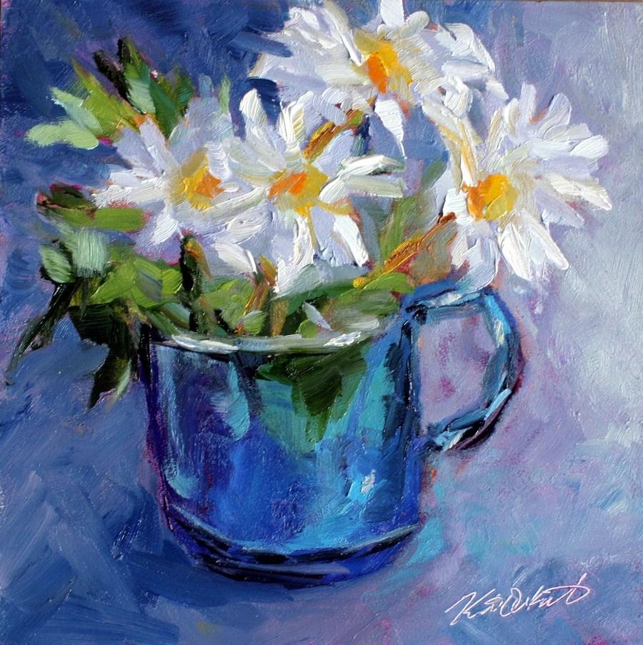 """Daisies in Blue"" original fine art by Kristen Dukat"