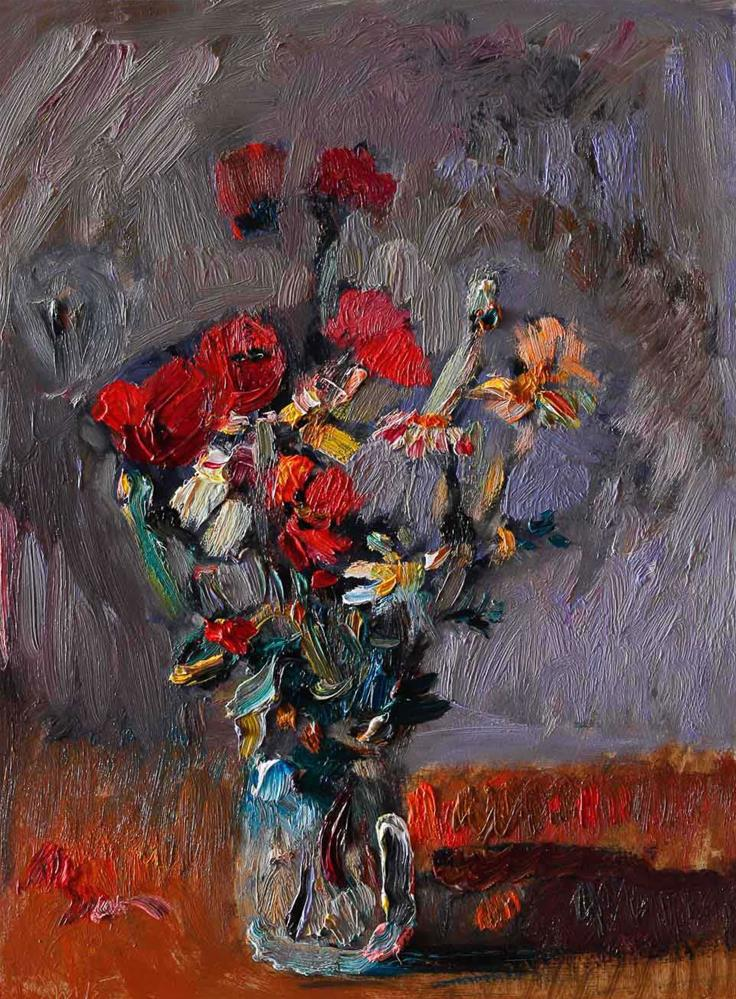 """""""Bouquet of Red Poppies and White Daisies in a Vase"""" original fine art by Anna Fine Art"""