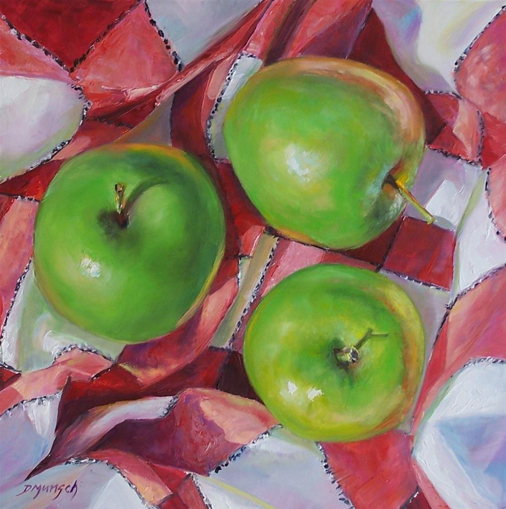 """Three Green Apples Checked"" original fine art by Donna Munsch"