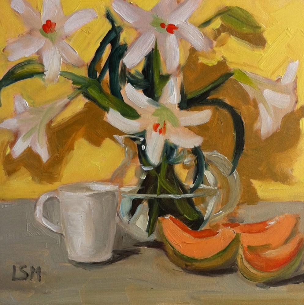 """Lilies and Melon Study"" original fine art by Linda Marino"
