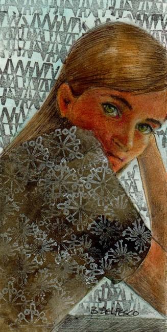 """Mixed Media Portrait: Leaving Rockport"" original fine art by Belinda Del Pesco"