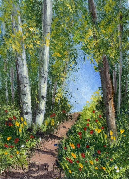 """Spring Trail ACEO"" original fine art by Janet Graham"