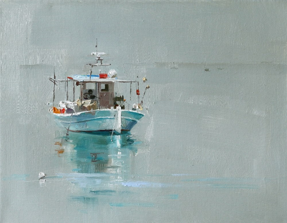 """""""""""A Small Boat"""" original fine art by Qiang Huang"""