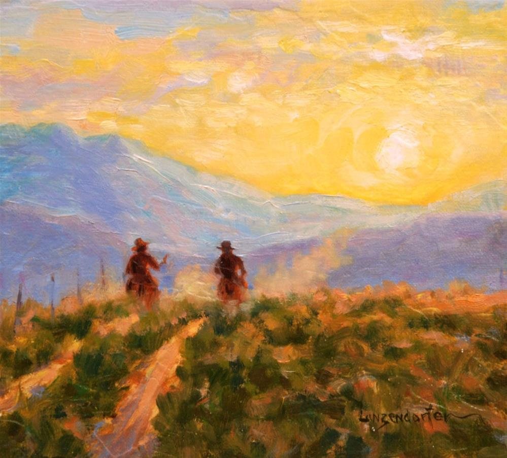 """RIDING INTO THE SUNSET"" original fine art by Dj Lanzendorfer"