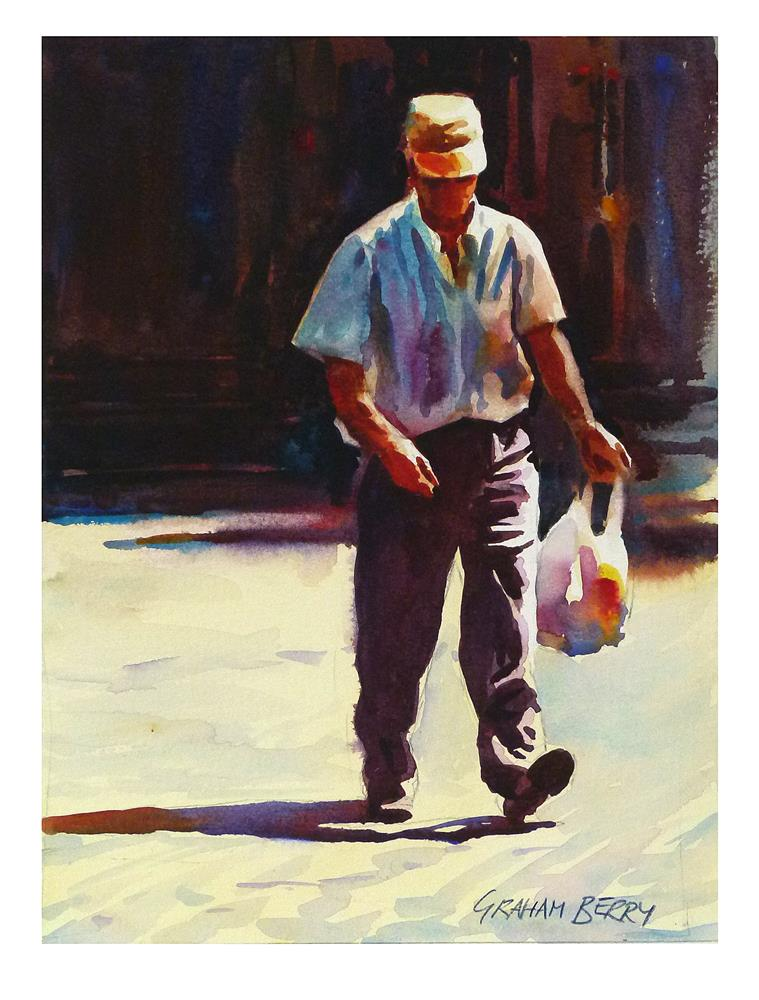 """""""Back with the shopping."""" original fine art by Graham Berry"""