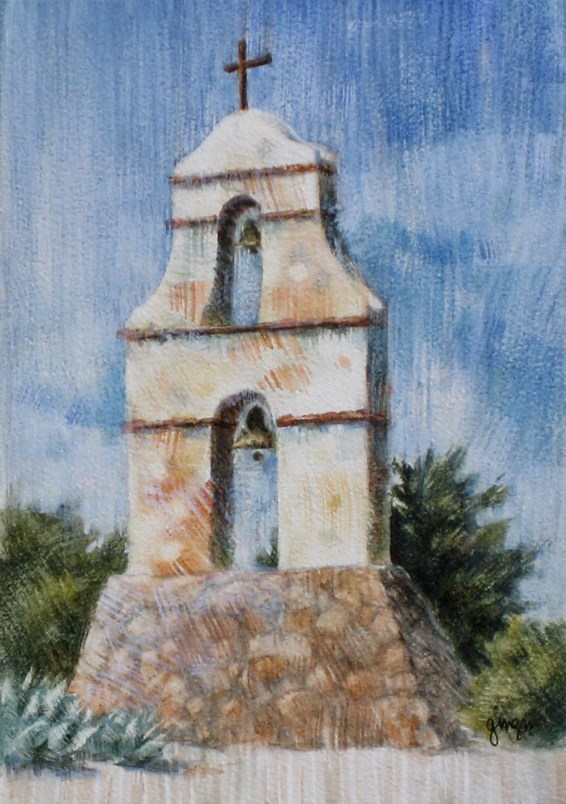 """""""The Assistencia Bell Tower"""" original fine art by Ginger Pena"""