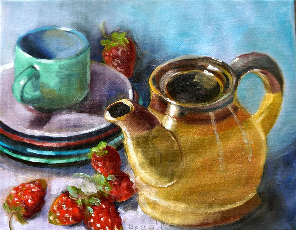 """Teapot with strawberry"" original fine art by Dipali Rabadiya"