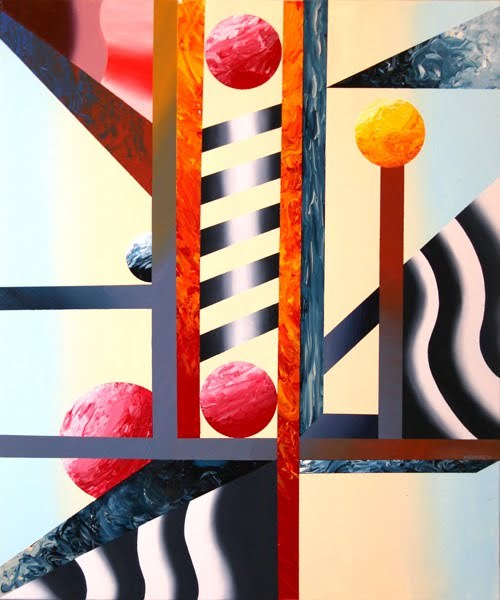 """""""Mark Webster - Abstract Planet Factory Oil and Acrylic (Mixed Media) Painting"""" original fine art by Mark Webster"""