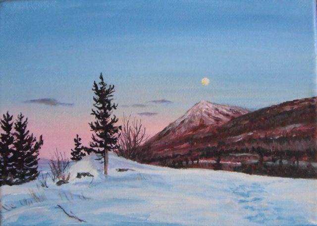 """Faro Peak Winter Sunset"" original fine art by Jackie Irvine"