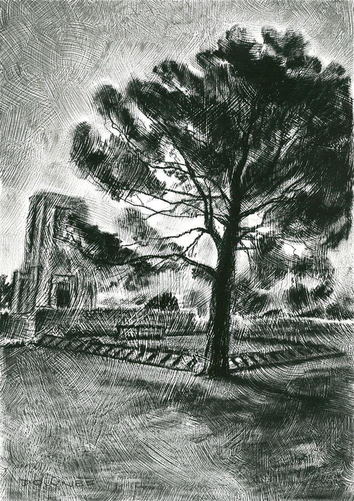 """305 LONE PINE ANZAC MEMORIAL  2"" original fine art by Trevor Downes"