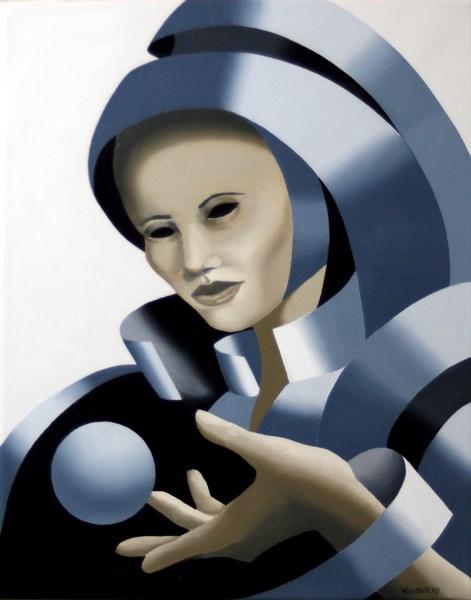 """Mark Webster - Untitled Grayscale Mask Oil Painting"" original fine art by Mark Webster"
