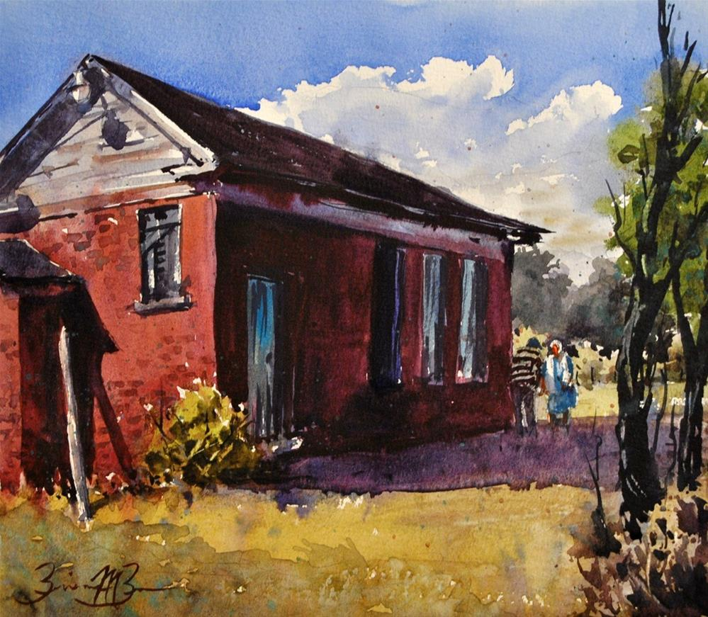 """At the Old School House"" original fine art by Brienne M Brown"