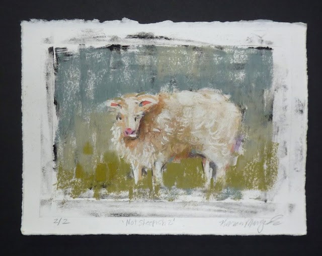 """The Icelandic Sheep Project...Monoprints and Pastel Play"" original fine art by Karen Margulis"