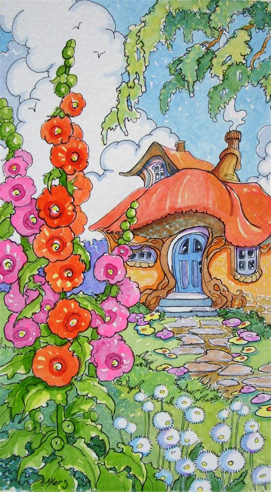 """""""A Garden House Storybook Cottage Series"""" original fine art by Alida Akers"""