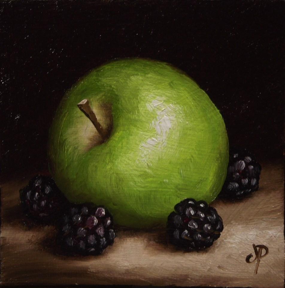 """Little apple and blackberries #7"" original fine art by Jane Palmer"