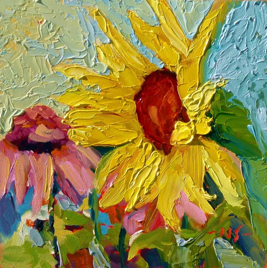 """Spur Me On Sunflower 13003 SOLD"" original fine art by Nancy Standlee"