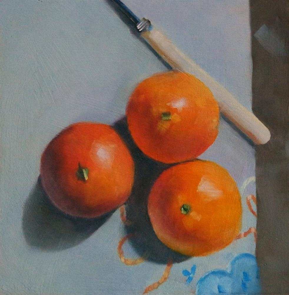 """""""Oranges and fork"""" original fine art by Cathy Holtom"""