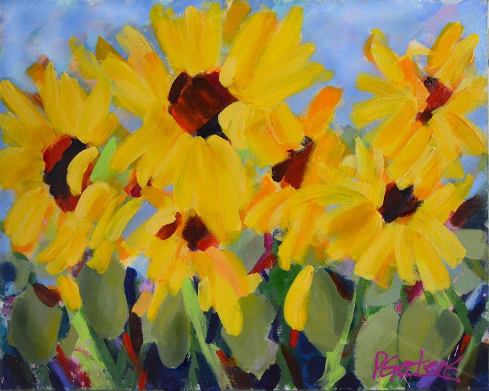 """""""End of Summer Sunflowers"""" original fine art by Pamela Gatens"""
