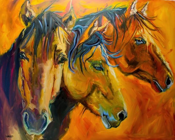 """ARTOUTWEST 4' X 5' THREE BROTHERS HORSE ANIMAL ART BY Artist Diane Whitehead"" original fine art by Diane Whitehead"