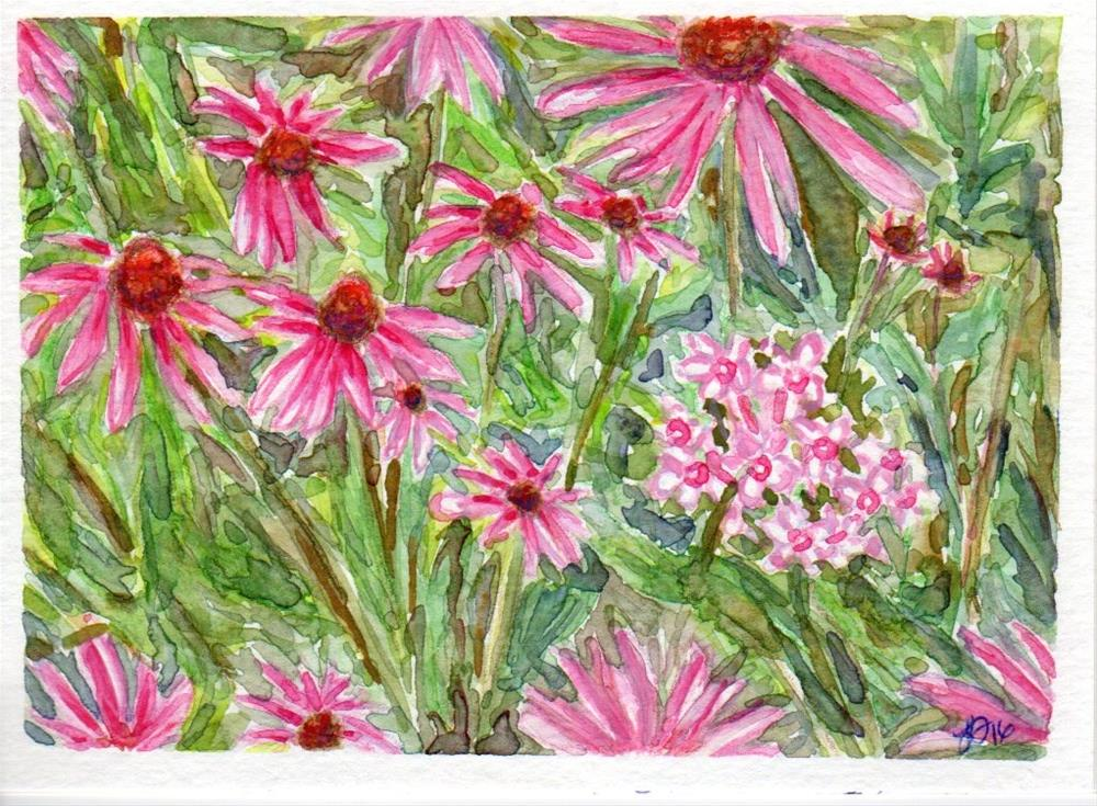 """Echinacea and Phlox"" original fine art by Laura Denning"